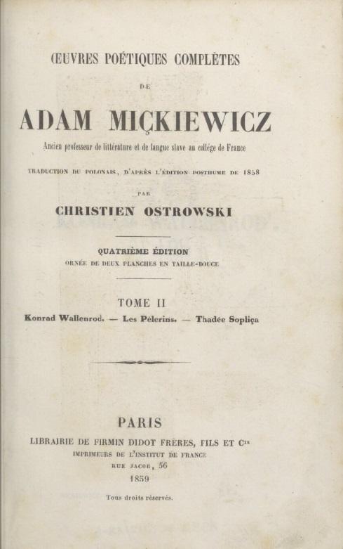 1845, tłum. Krystyn Ostrowski, Polona