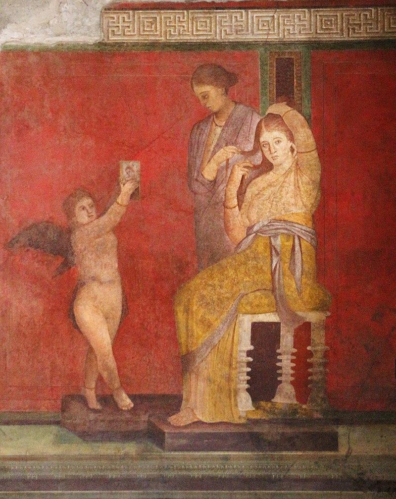 Fragment fresku z Willi z Misteriami, Pompeje, 60-70 p.n.e. Źródło grafiki: Wikipedia.