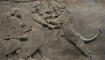 Ashurbanipal killing a wounded lion