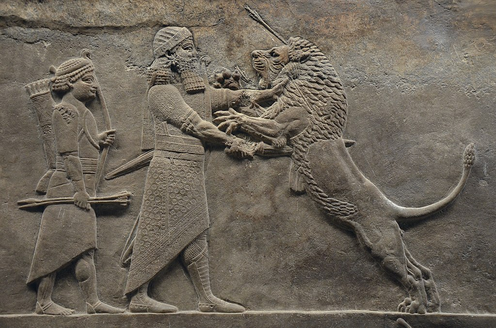 Assurbanipal zabija rannego lwa