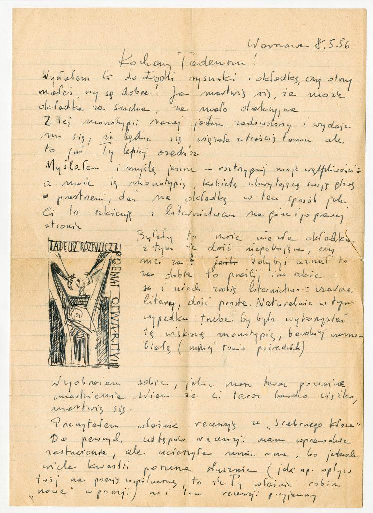 List Jerzego Tchórzewskiego do Tadeusza Różewicza z 8 maja 1956 roku (fragment), zbiory Ossolineum