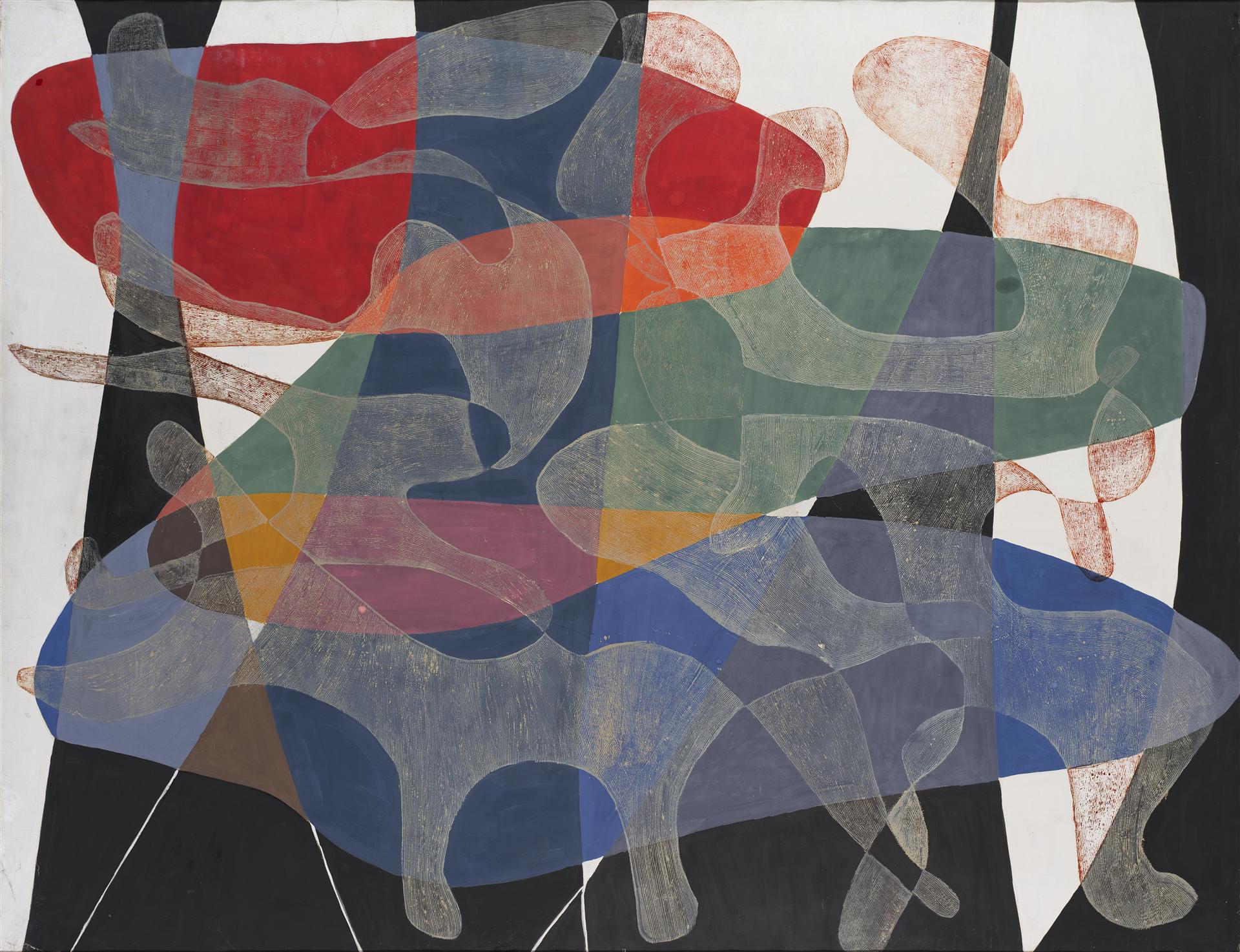 """Maria Jarema, """"Penetracje I"""", 1957, Muzeum Sztuki w Łodzi, źródło: https://zasoby.msl.org.pl/arts/view/493"""