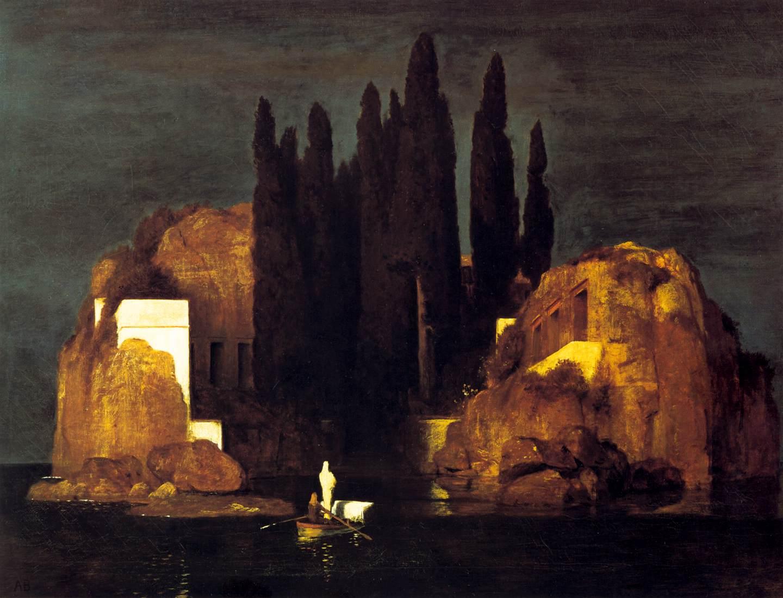 """Arnold Böcklin, """"Wyspa umarłych I."""", 1880, Muzeum Sztuki w Bazylei, źródło: Wikipedia"""
