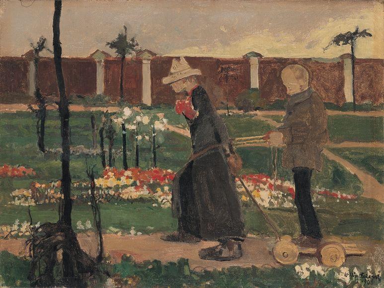 """Witold Wojtkiewicz, """"Za murem"""" z cyklu """"Obłęd"""", 1906, Muzeum Sztuki w Łodzi"""