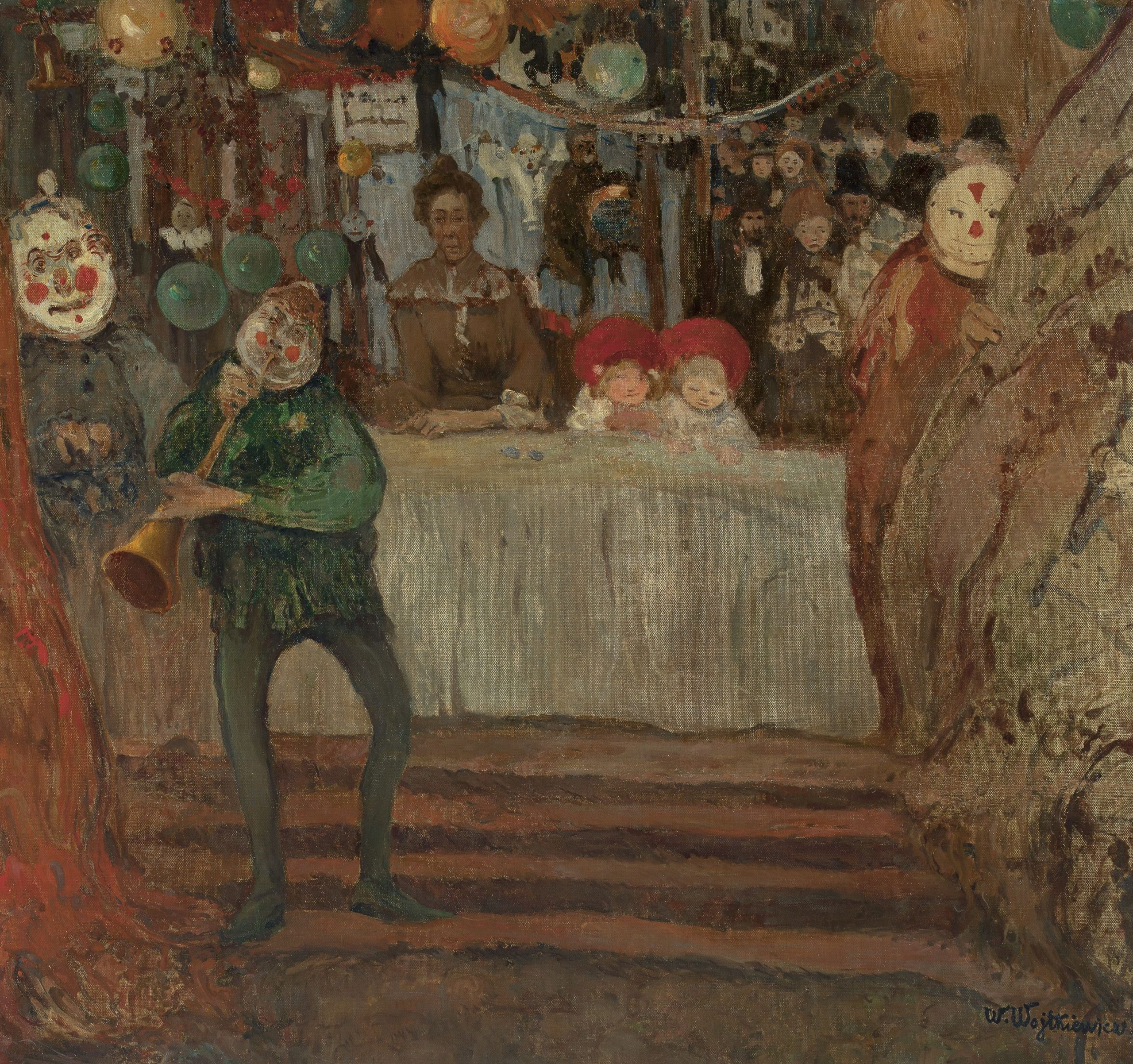 """Witold Wojtkiewicz, """"Przed teatrzykiem"""" z cyklu """"Cyrki"""", 1906, Muzeum Narodowe w Warszawie"""