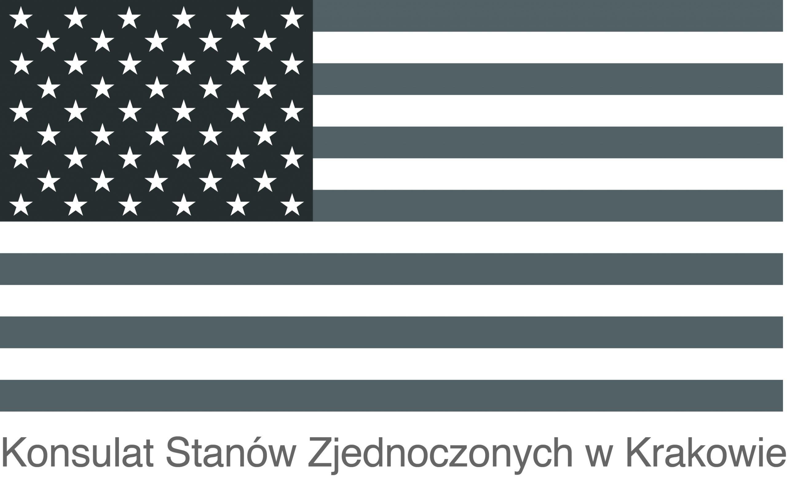 Logo Ambasady Stanów Zjednoczonych w Warszawie, Konsulatu Generalnego USA w Krakowie i Departamentu Stanu USA.